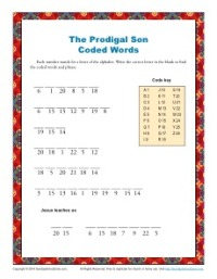 The Prodigal Son Coded Words Bible Activity for Kids