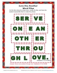Serve One Another Word Tiles Activity