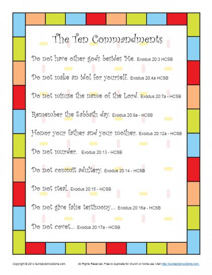 Ten Commandments Scripture Poster