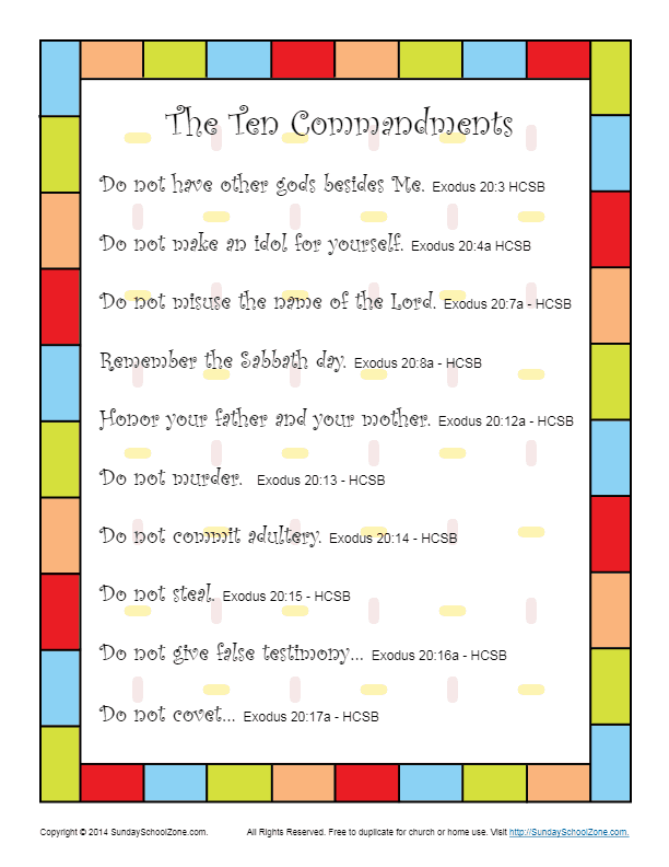 Ten Commandments for Kids Scripture