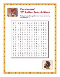 """Sunday School Activity - Zacchaeus' """"Z"""" Letter Search Maze"""