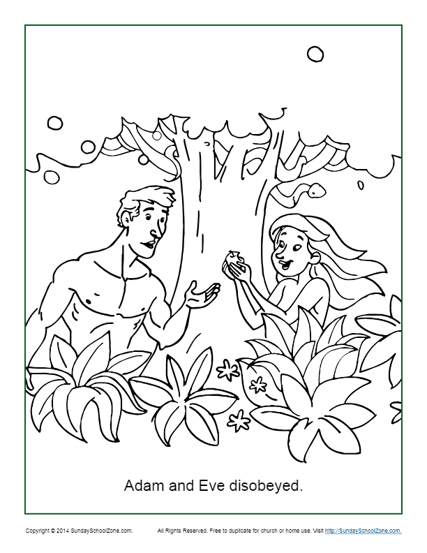 Adam and Eve Disobeyed Coloring