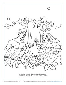 Adam And Eve Disobeyed Coloring Page