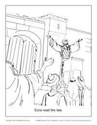 Ezra Reads The Law Coloring Page In Nehemiah