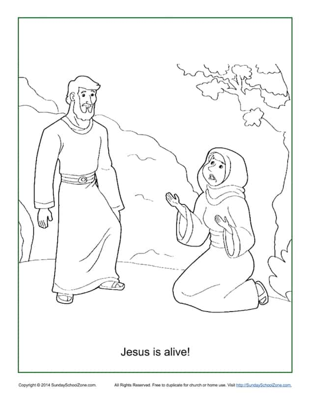 Jesus Is Alive Resurrection Coloring Page On Sunday School Zone