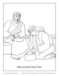 Mary Anoints Jesus Feet Coloring Page