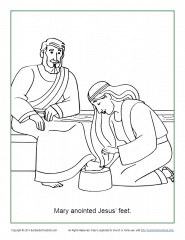 Mary Anoints Jesus\' Feet Coloring Page