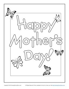 Printable Happy Mother's Day Coloring Page for Kids