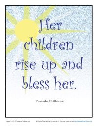 Printable Sunday School Scripture Page - Proverbs 31:28a