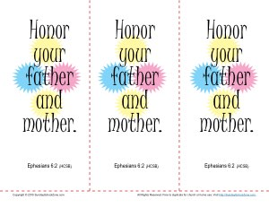 Honor Your Father And Your Mother Bookmarks Children S