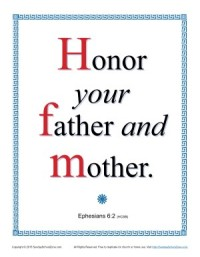 Sunday School Scripture Page - Honor Your Father and Mother (Ephesians 6:2)