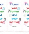 Printable Sunday School Bookmarks - Honor Your Father and Your Mother