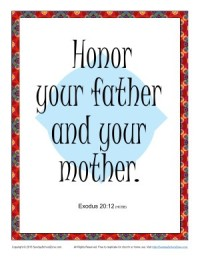 Honor Your Father and Your Mother Scripture Page - Sunday School Activity