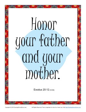 Honor Your Father And Mother Scripture Page Children S