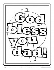 God Bless You, Dad Coloring Page - Children's Bible ...