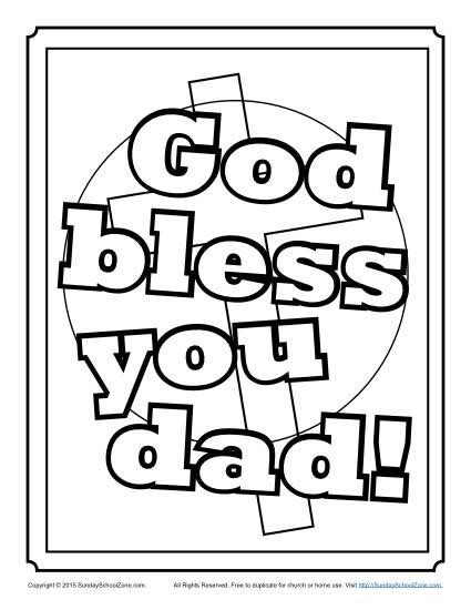 God bless you dad coloring page children 39 s bible for God is our father coloring pages