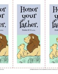 Sunday School Bookmarks - Honor Your Father (Exodus 20:12)