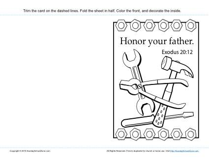 Honor Your Father Card Children 39 s Bible Activities