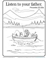 Proverbs 23:22 Bible Coloring Page - Listen to Your Father