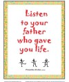 Proverbs 23:22 Scripture Page - Listen to Your Father Who Gave You Life