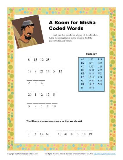 A Room For Elisha Coded Words Childrens Bible