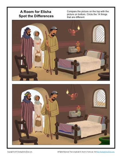 A Room for Elisha Spot the Differences Children 39 s Bible