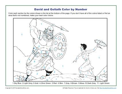 David and Goliath Color by Number Children 39 s Bible