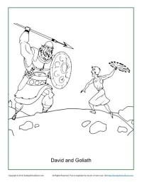 David And Goliath Coloring Page On Sunday School Zone