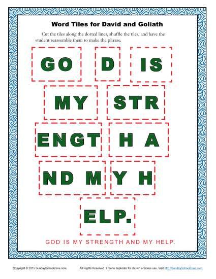 David And Goliath Word Tiles Children S Bible Activities