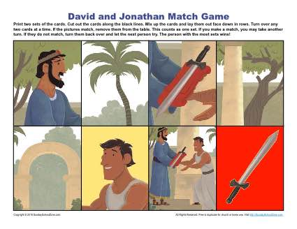 David and Jonathan Match Game Children 39 s Bible