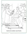 Bible Coloring Page for Kids - David and Jonathan Were Friends