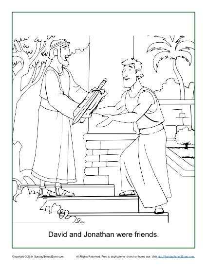 David And Jonathan Were Friends Coloring Page Children S David And Jonathan Coloring Page