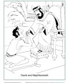 Children's Bible Activity - David and Mephibosheth Coloring Page