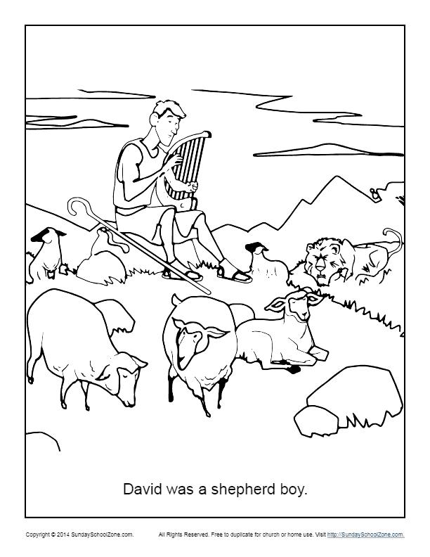 - David Was A Shepherd Boy Coloring Page - Children's Bible Activities  Sunday School Activities For Kids