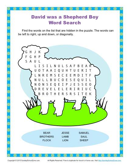 David Was a Shepherd Boy Word Search