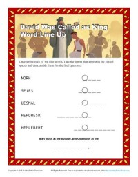 David Was Called as King Word Line Up Activity for Sunday School