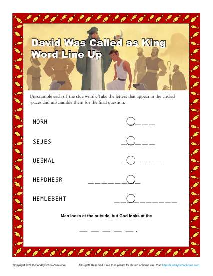 David Was Called As King Word Lineup Children S Bible