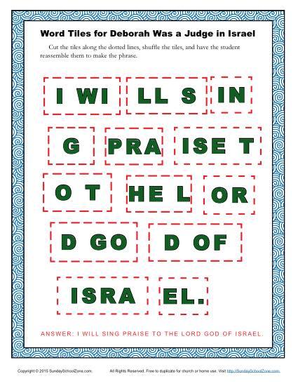 Deborah was a Judge in Israel Word Tiles Children 39 s