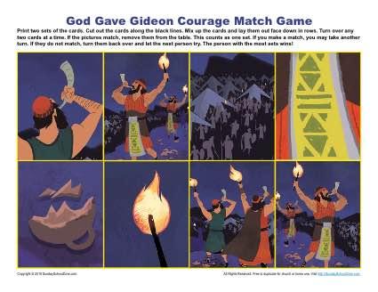god gave gideon courage match game childrens bible