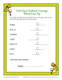 Sunday School Word Line Up Activity - God Gave Gideon Courage