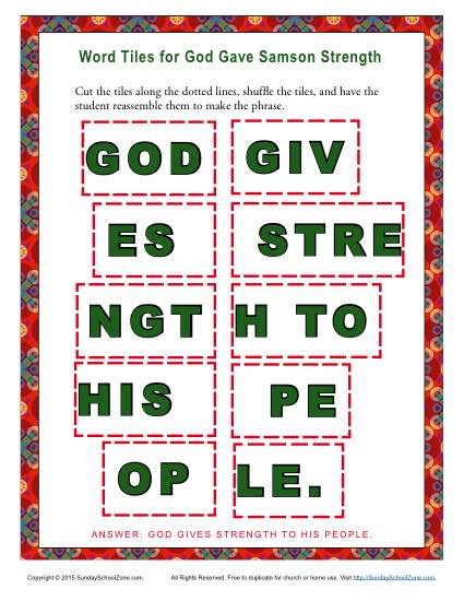 God Gave Samson Strength Word Tiles
