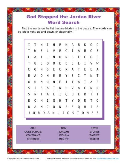 God Stopped The Jordan River Word Search Childrens