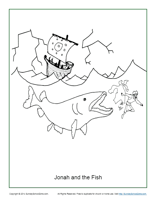 Jonah And The Fish Coloring Page Children S Bible