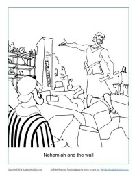 Nehemiah and the Wall Coloring Page Children 39 s Bible