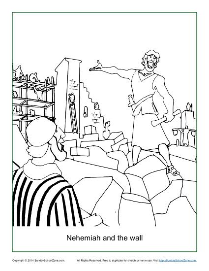 Nehemiah and the Wall Coloring Page - Children\'s Bible Activities ...