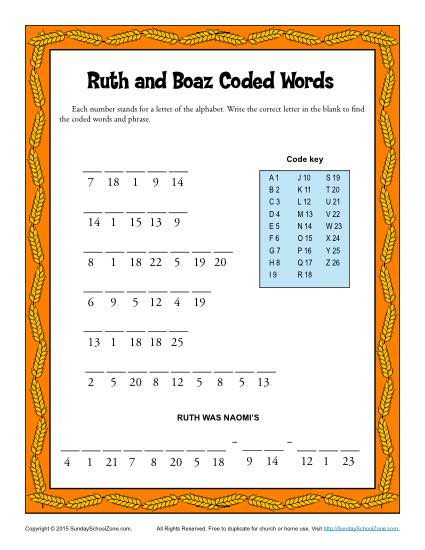 Ruth and Boaz Coded Words Children 39 s Bible Activities