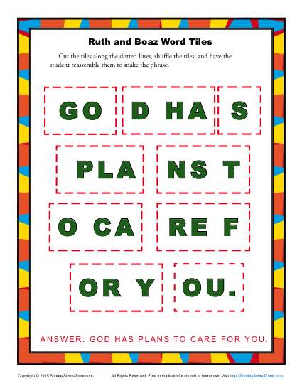 Ruth and Boaz Word Tiles Children 39 s
