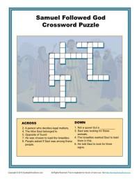 Children's Crossword Puzzle Activity for Lessons about Samuel