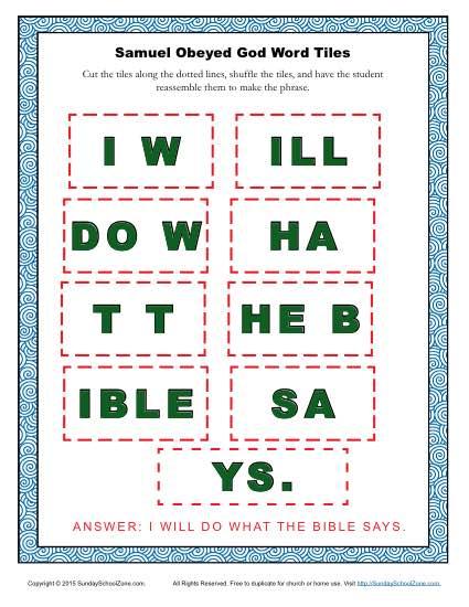 Samuel Obeyed God Word Tiles