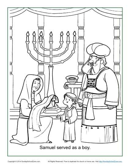 Samuel Served As A Boy Coloring Page Children S Bible And Samuel Coloring Page
